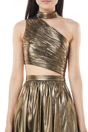 Metallic Chiffon Cocktail Dress