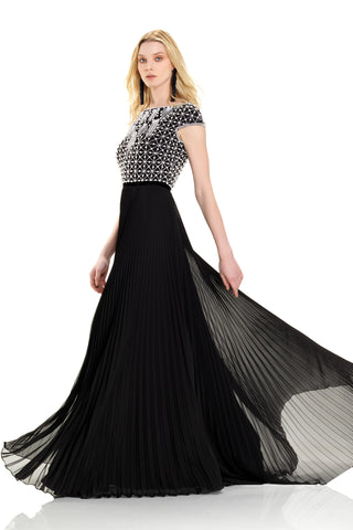 Beaded Bodice with Pleated Chiffon Gown -