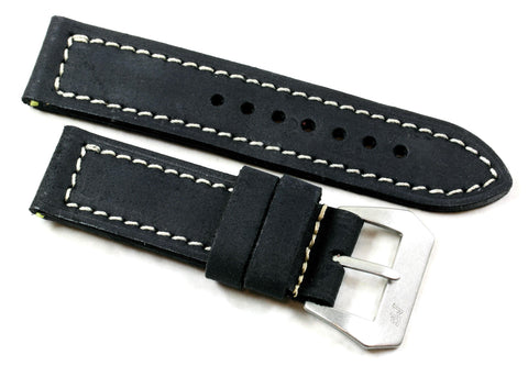 "MP 4 ""Submercitore"" in Distressed Black with sewn in MP Natural Buckle - Mario Paci Straps"
