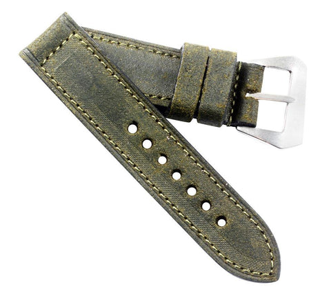 Mario Paci Special Edition Distressed Olive Green with sewn in MP Pre-V buckle