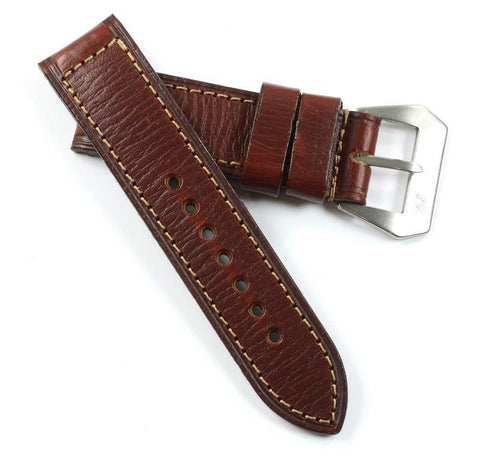 Custom Made MP PAV 91 Original Panerai strap leather in Bourgogne with sewn in MP buckle