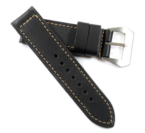 MP PAV 98 Kodiak waterproof leather Black with a MP New Natural Pre-V buckle - Mario Paci Straps
