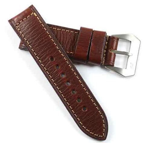 MP PAV 91 Original Panerai strap leather in Bourgogne with sewn in MP buckle