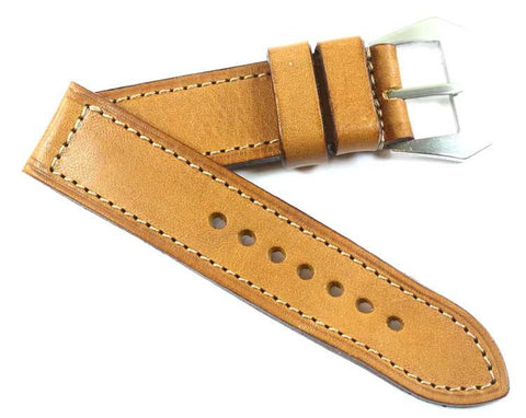 Mario Paci XI Tan Ambra with MP sewn in Natural Pre-V buckle