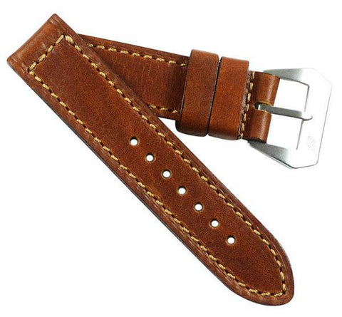 "MP XVIII ""Querciabella"" Tuscan Calf in tan with sewn in MP Pre-V buckle - Mario Paci Straps"