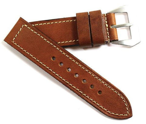 MP XV Burnt Sienna Calf skin with a MP natural Pre-V buckle - Mario Paci Straps