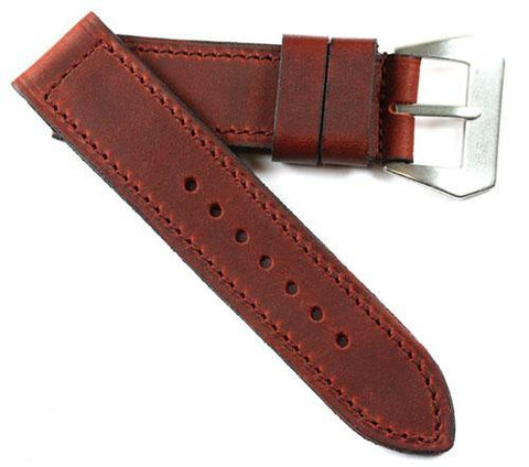"Mario Paci XXIII ""Sogno di Tempo"" in Burgundy Nubuck Distressed with sewn in buckle - Mario Paci Straps"