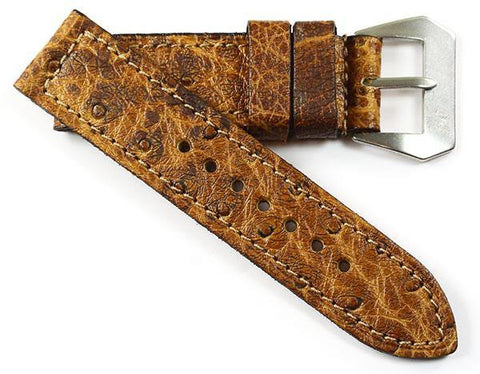 Mario Paci XX Exquisite Ostrich in Teak with an MP sewn-in Pre-V buckle - Mario Paci Straps