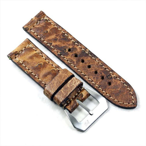 Mario Paci XX Exquisite Ostrich in Teak with an MP sewn-in Pre-V buckle 24/24 125/80
