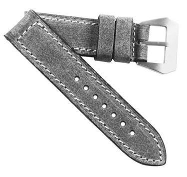 MP Special Edition Grey Distressed with MP sewn in Natural buckle - Mario Paci Straps