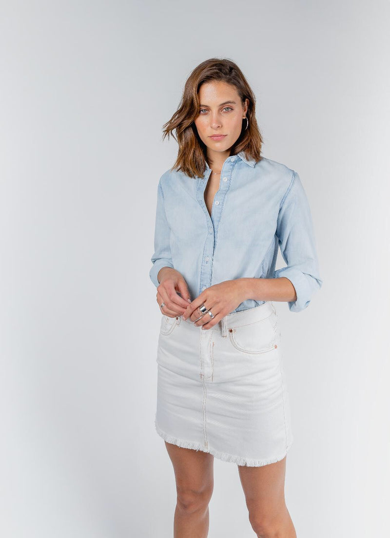 DRICOPER Raw Edge Denim Mini Skirt-Dricoper-Frolic Girls
