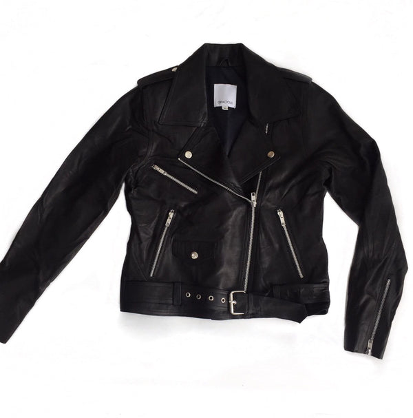 Outlaw Biker Leather Jacket-Gracious-Frolic Girls