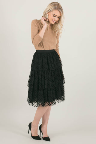 The Taylor Black Polka Dot Lace Skirt