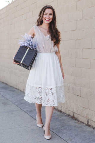 The Gracie's White Lace Midi Skirt