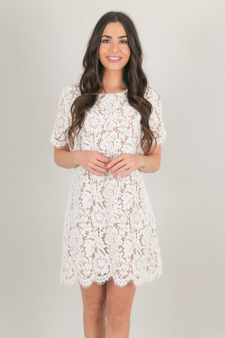The Avery Lace Shift Dress - White