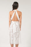 The Skye Halter Low Back Lace Dress - White