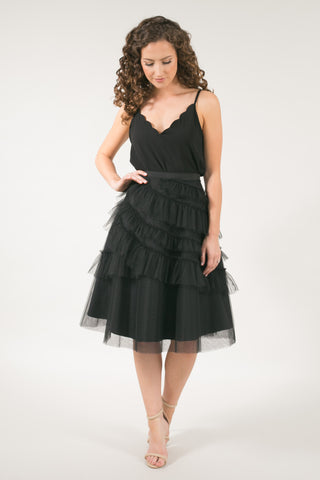 The Lucea Ruffle Midi Tulle Skirt - Black