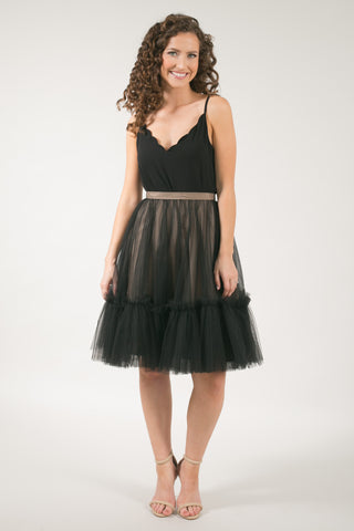 The Skylar Ruffle Black Tulle Skirt