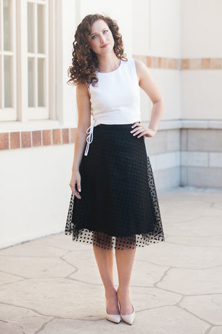 "The Romantic - Black Polka Dots Lace 27"" Length *Final Sale*"