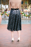 This holiday season, the party starts here!  Our Meredith Sequin Midi Tulle Skirt is designed with our signature A-line silhouette, sprinkled with sequinned flowers and a luxurious velvet waist band.  We love to pair with a sweater or our matching Meredith sequin crop top for any holiday parties and new year festivities.      Fully lined with chiffon     All length is approximately 27