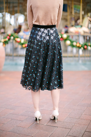 The Meredith Sequin Black Midi Tulle Skirt