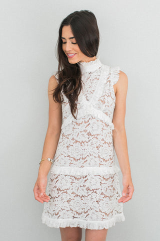 The Penny Ruffle Lace Dress - White
