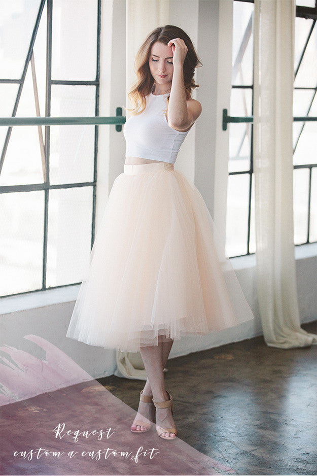 4 stiff signature tulle layers or 6 soft tulle layers over satin or matte lining. Please provide waist and length measurement at check out. Waist 24 inches to 42 inches ONLY. Length 20 inches to 32 inches ONLY. Order will ship 3-4 weeks from order date.