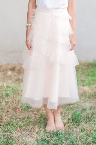 The Lucea Ruffle Midi Tulle Skirt - Peach Blush