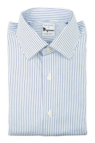 Blue White Striped Shirt Forward Point Collar