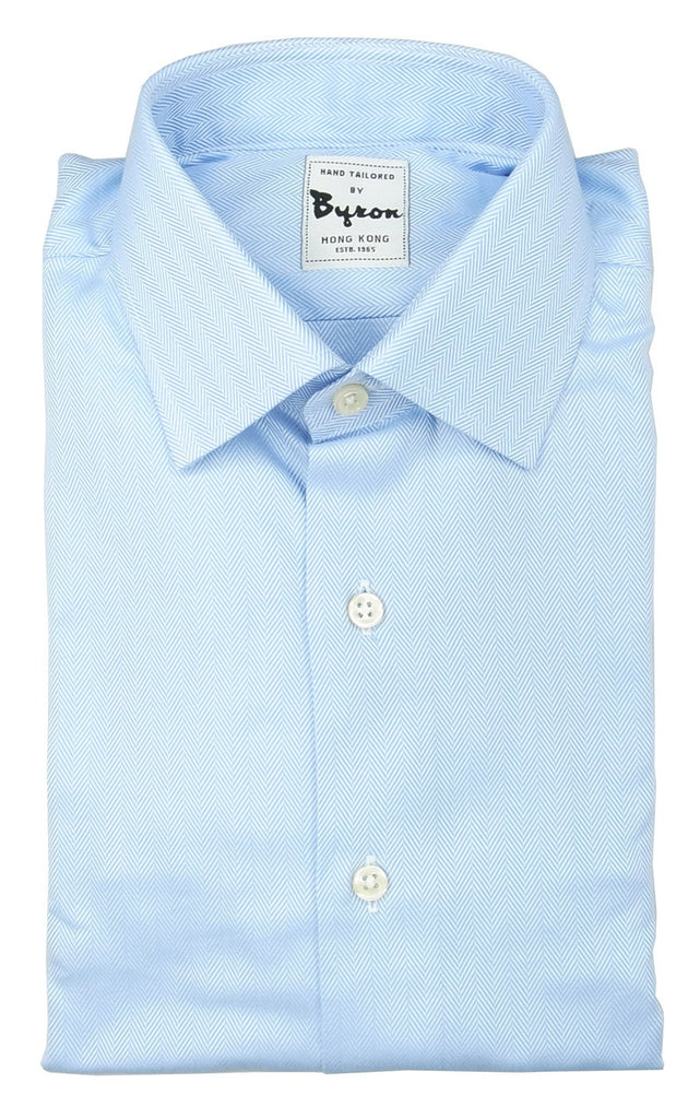 Blue Herringbone Design Shirt Matching Forward Point Collar