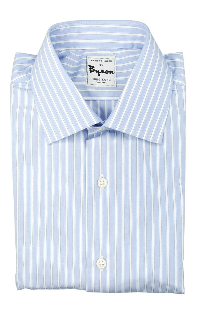 100% Cotton Shirt Blue White wide stripes Forward Point Collar