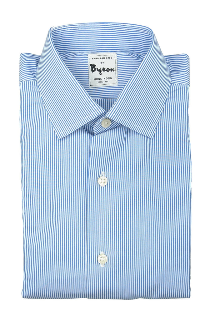 Blue Stripe Shirt Forward Point Collar, Wrinkle Free Fabric