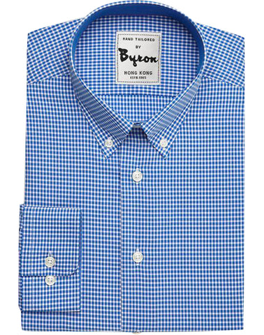 Azure Blue Micro Check Shirt, Button Down Collar, Round Cuff