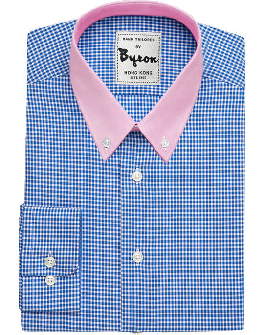 Azure Blue Micro Check Shirt with Pink Collar, Rounded Cuff