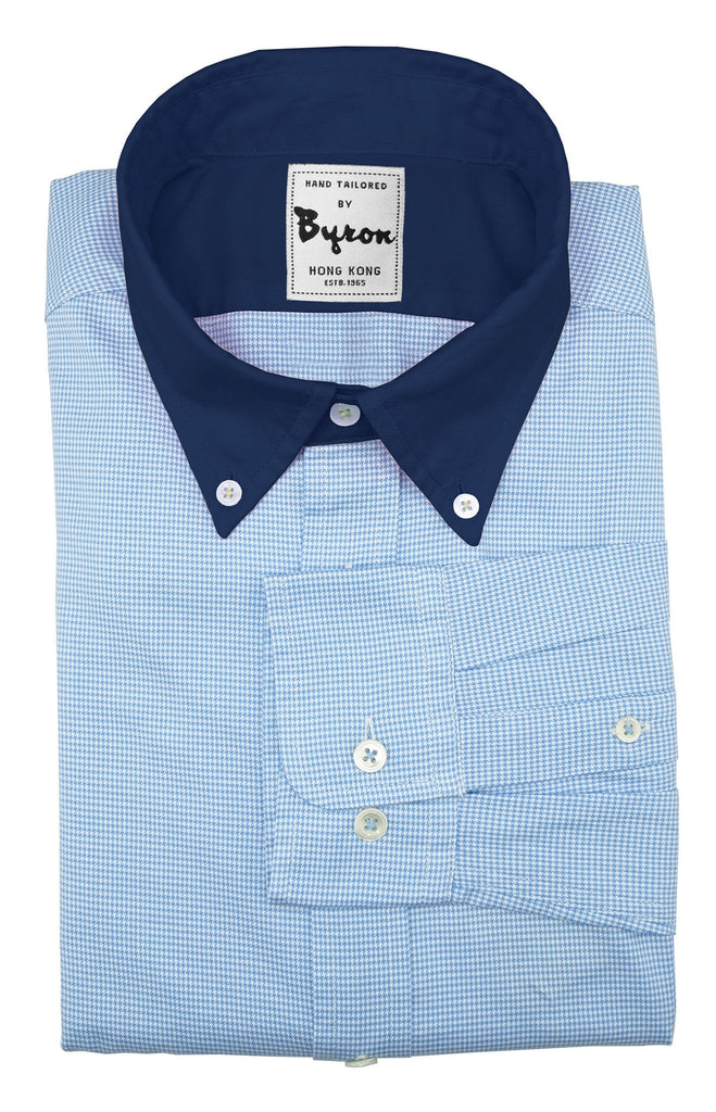 Baby Blue Micro Check Shirt with Navy Button Down Collar and Trim