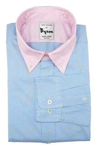 Baby Blue Micro Check Shirt with Pink Button Down Collar and Trim
