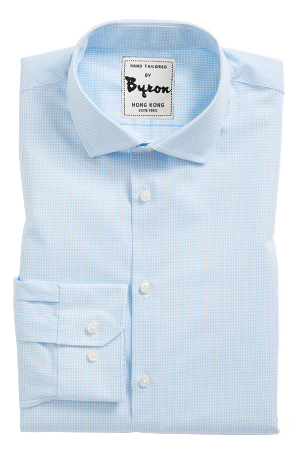 Baby Blue on Blue Micro Check Shirt, English Spread Collar, Angled Cuff