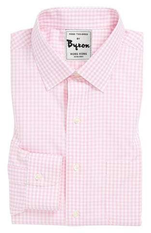 Baby Pink Gingham Check Shirt, Medium Spread Collar, Rounded Cuff