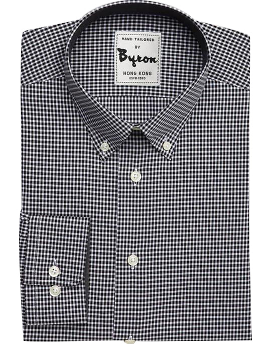 Black Micro Check Shirt, with button down Collar, Rounded Cuff
