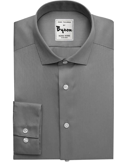 Gray Rock Solid Shirt, English Spread Collar, Standard Cuff – byronshirts