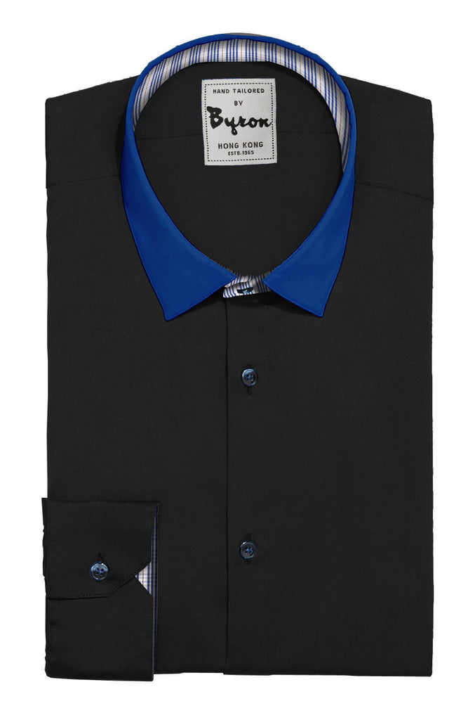 Black Shirt, with Royal Blue Forward Point Collar, Angled Cuff