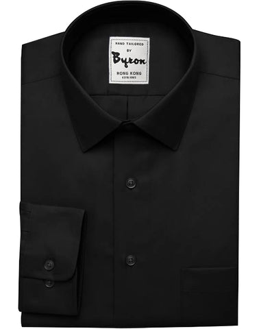 Black Solid Shirt, Forward Point Collar, Standard Cuff