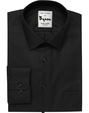 Black Solid Shirt, Medium Spread Collar, Rounded Cuff