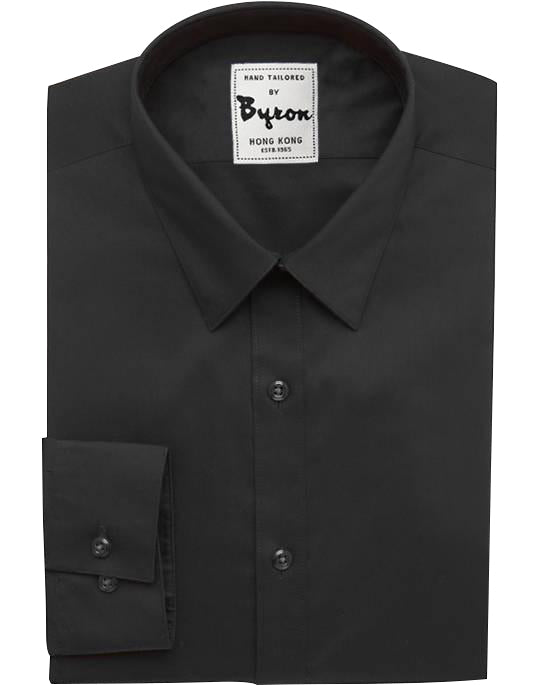 Black Solid Shirt, Hidden Button Down Collar , Standard Cuff