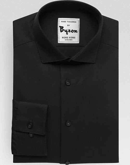 Black Solid Shirt, Club Collar, Rounded Cuff