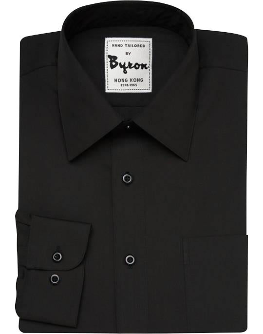Black Solid Shirt, Forward Point Collar, Angled Cuff