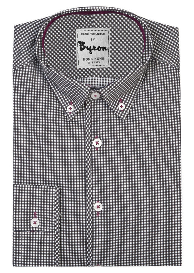 Black and White Gingham Check Shirt, Button Down Collar, Standard Cuff