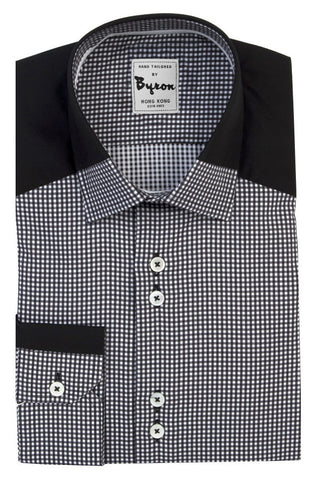 Black and White Micro Check with Black / Check Collar, Angled Cuff