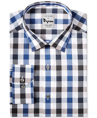Blue And Black Gingham Shirt Forward Point Collar Angled Cuff