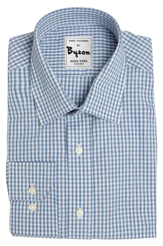 Blue Bold Lined Gingham Shirt, Forward Point Collar, Angled Cuff